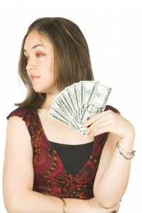 girl with dollar notes